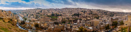 Panorama landscape of Amman, the capital city of the Hashemite Kingdom of Jordan, from the Citadel hill