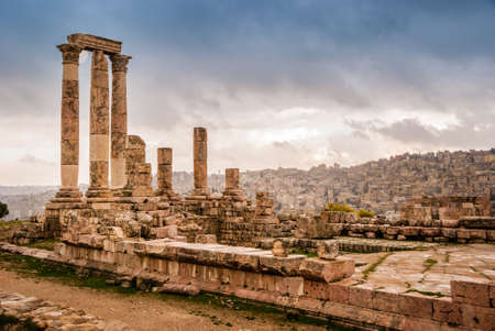 Roman ruins of the Temple of Hercules with columns in the Citadel Hill of Amman, Jordan, Middle East
