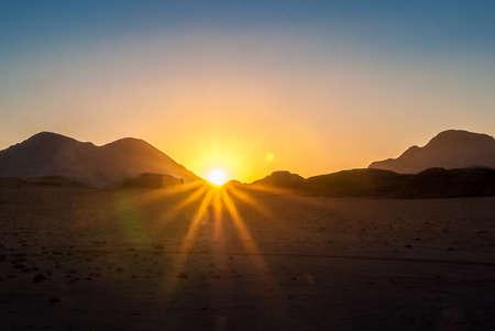 Sunset over the desert of Wadi Rum, Jordan, Middle East