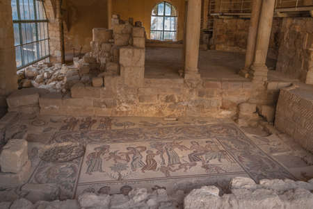 Ancient roman mosaic in the Church of the Apostles in Madaba, Jordan, Middle East Editorial