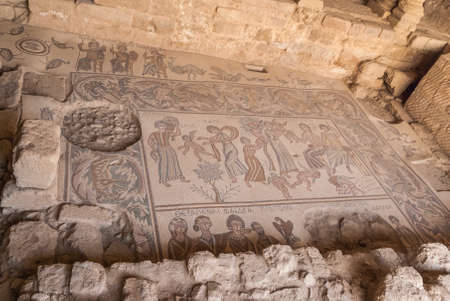 Ancient Roman mosaic in the Church of the Apostles in Madaba, Jordan, Middle East