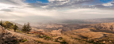 Panorama of the Holy Land from the Mount Nebo in Jordan, Middle East 版權商用圖片