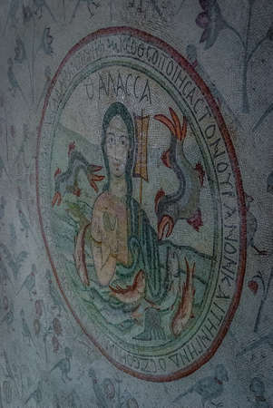Thalassa (Sea god) Mosaic in the Church of the Apostles (Madaba), Jordan Middle East