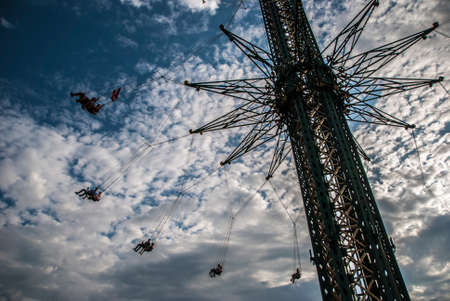 VERTICAL PRATER, VIENNA, AUSTRIA, 2019 AUGUST, 18: Historical Amusement Park in Vienna, Austria, Europe