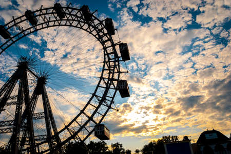 Vienna postcard. Panoramic view of Vienna, capital city of Austria, Europe, Ferris Wheel, Prater Entertainment Park Stock Photo