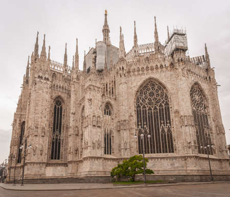 Milan, Italy, April 2020, Rear of the Duomo (Milan Cathedral), in downtown of the city closed , empty of people during covid19 Coronavirus epidemic