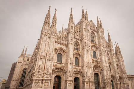 Milan, Italy, April 2020, Front of the Duomo (Milan Cathedral), in downtown of the city closed , empty of people during covid19 Coronavirus epidemic
