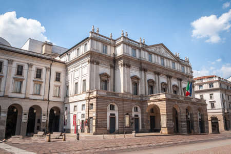 Milan, Italy, April 2020, Teatro alla Scala, in downtown of the city closed , empty of people during covid19 Coronavirus epidemic