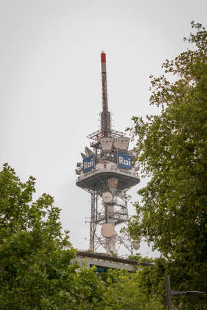 Italy - Milan June 2019 - rai headquarters in corso Sempione - television antennas