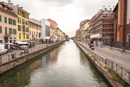 Milan, Lombardia, Italy, April 2020, Naviglio Grande empty of people during covid19 Coronavirus epidemic