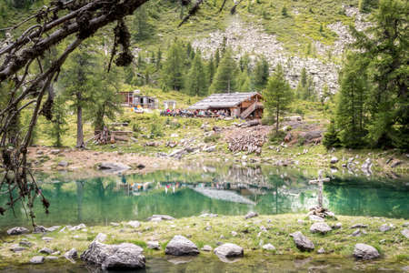 Alpine lake in Zirmtal (valley of Cirmolo) South Tyrol, Alto Adige, Italy, Europe
