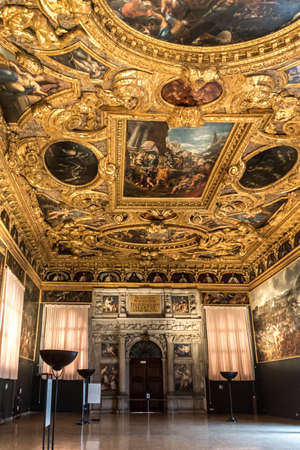 Venice, Italy - Oct 3, 2020: Interior of the Doge's Palace (Palazzo Ducale), the Sala dello Scrutinio (The Chamber of Scrutinizing). Doge's Palace is one of the main landmarks of Venice. Historical architecture and art of Venice.