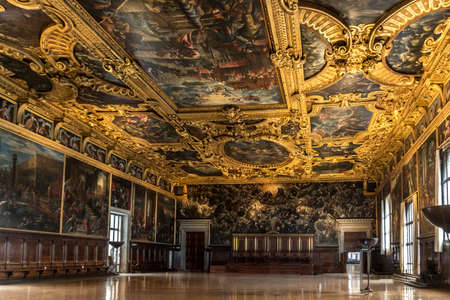 Venice, Italy - Oct 3, 2020: Interior of the Doge's Palace (Palazzo Ducale), the Higher Council Hall. Doge's Palace is one of the main landmarks of Venice. Historical architecture and art of Venice.