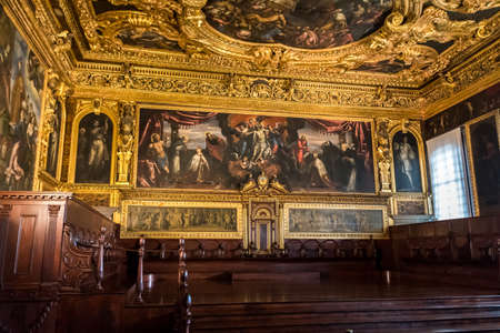 Venice, Italy, Oct 3, 2020 - Palazzo ducale (Doge's Palace) - Sala del senato - The Senate Chamber with frescoes of Tintoretto