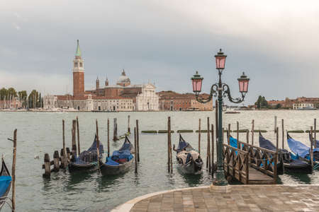 Venezia (Venice), Italy, 3 October 2020 - View of the island of Saint George and the Basilica di San Giorgio Maggiore (Church of Saint George) 新闻类图片