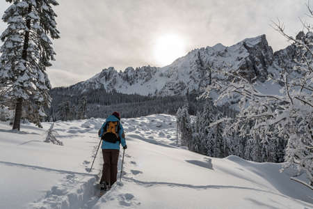 Girl hiking with snowshoes in the Rosengarten-Schlern group (Gruppo Catinaccio Sciliar) and the village of Karersee or Carezza in the Dolomites in Italian Alps, Südtirol, Alto Adige in winter with snow