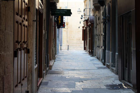 national holiday: Empty street in Valletta Malta on a National Holiday