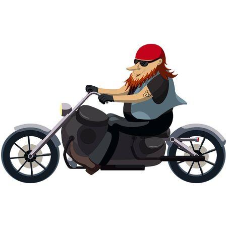 Illustration cartoon man in sunglasses riding a motorcycle Vector Illustration