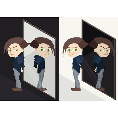 Illustration psychological concept good boy before the mirror and his bad reflection plus contrariwise version 向量圖像