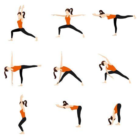 Ilustración estilizada mujer practicando posturas de yoga de pie