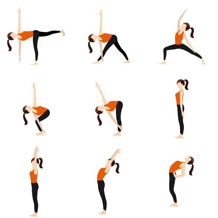Illustration stylized woman practicing standing yoga postures 일러스트