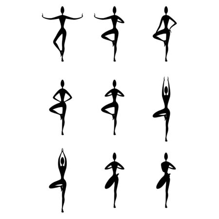 Illustration stylized women silhouettes in a yoga vrikshasana. From beginner to advanced