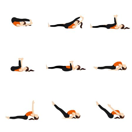 Illustration stylized woman practicing lying yoga postures 矢量图像