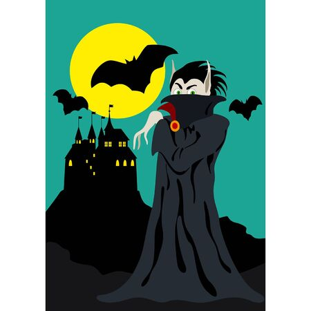 Illustration banner with cartoon vampire, moon and a castle in the background