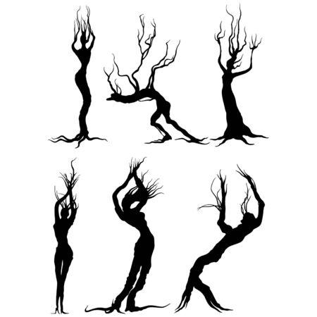 Illustrazione fantasy sagome di alberi bizzarri come persone