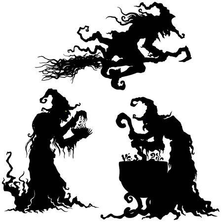 Illustration des silhouettes de femmes sorcière grotesque fantaisie