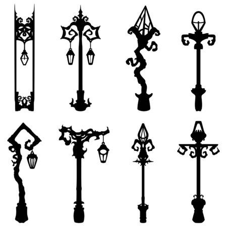 Illustration fantasy decorative lamp post silhouettes