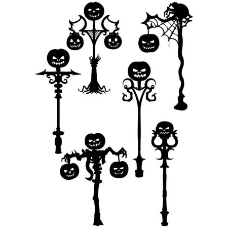 Illustration fantasy decorative pumpkin lamp post silhouettes
