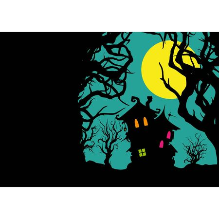Illustration horizontal banner with a house and trees silhouettes  Иллюстрация