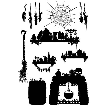 Fantasy objects set from a kitchen of a witch