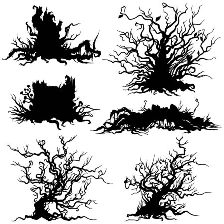 Decorative dry shrub, stump, snag silhouettes on white