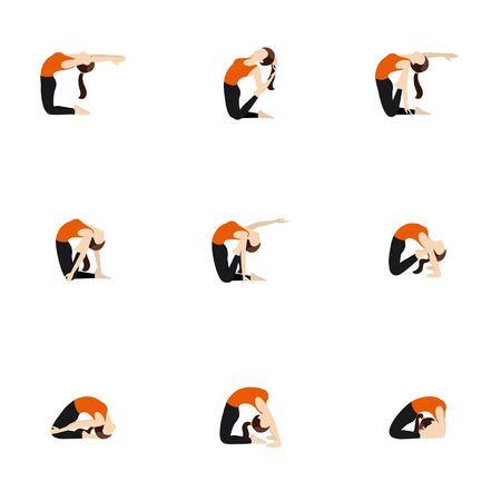 Illustration stylized woman practicing ustrasana variations