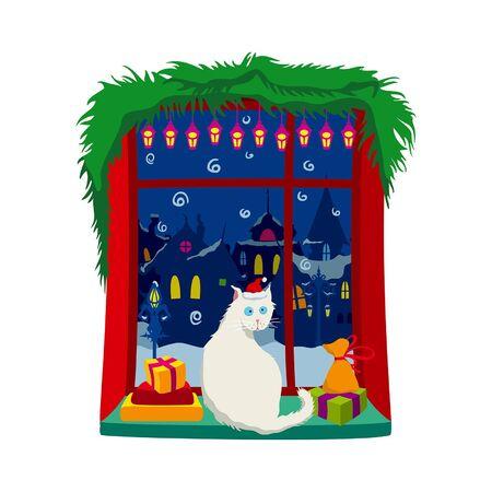 Illustration cartoon cat in Santa Claus hat sitting on a window sill, gifts around