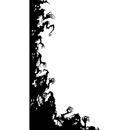 Illustration fantasy grotesque corner with ghost creatures Vector Illustratie