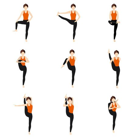 Illustration stylized woman practicing yoga postures with legs extension