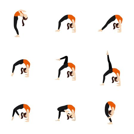 Illustration stylized woman practicing urdhva dhanurasana variations
