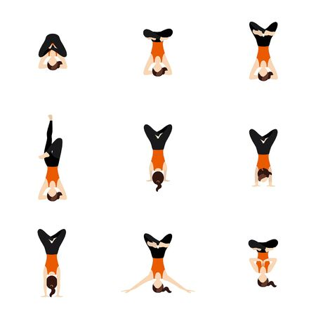 Illustration stylized woman practicing padmasana in handstand & headstand