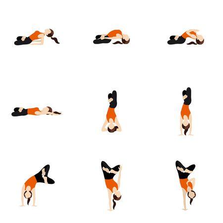 Illustration stylized woman practicing padmasana in matsyasana, handstand, headstand Illustration