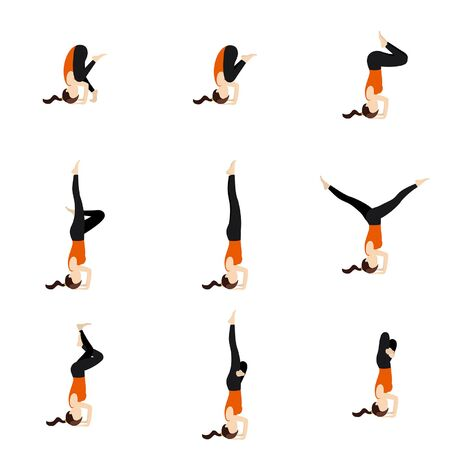 Illustration stylized woman practicing yoga postures headstand variations
