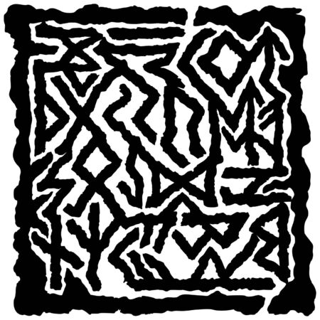 Illustration fantasy labyrinth with modificated runes