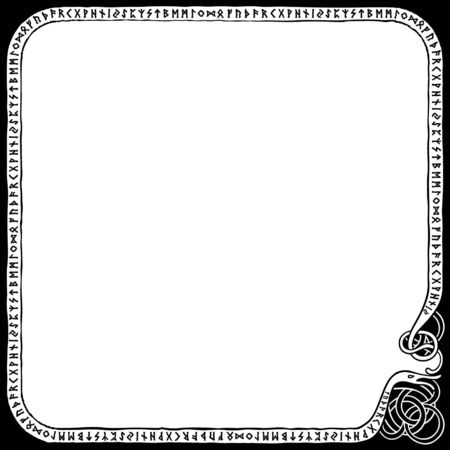Illustration a frame with the scandinavian futhark in nordic style  Иллюстрация