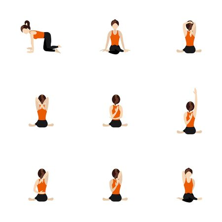 Illustration stylized woman practicing gomukhasana step by step