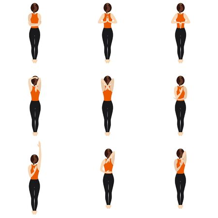 Illustration stylized woman practicing arm stretches for flexibility. Back view