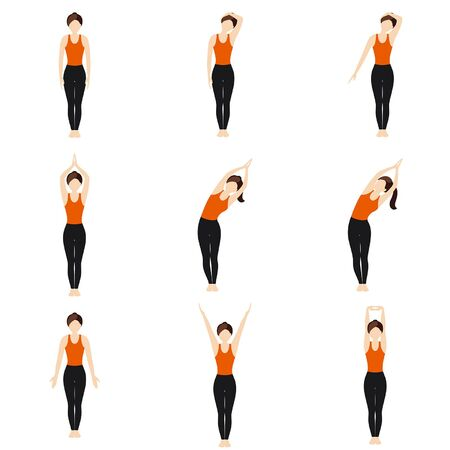 Illustration stylized woman practicing arms stretching poses 向量圖像
