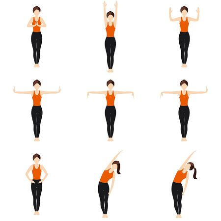 Illustration stylized woman practicing exercises with hands