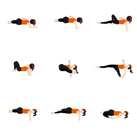 Stylized woman practicing lying yoga postures